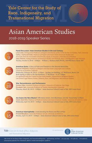 Asian American Studies Speaker Series event poster