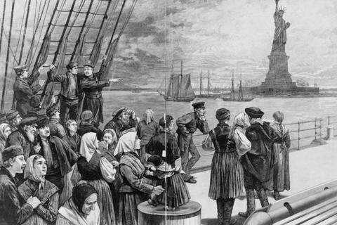 1887 - New York - Welcome to the land of freedom - An ocean steamer passing