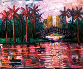 Painting by Carlos Almaraz, Echo Park Bridge at Night (1989)