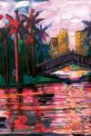 Painting by Carlos Almaraz, Echo Park Bridge at Night (1989)